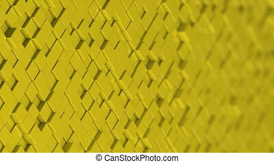 Wall of yellow cubes moving in a random pattern.