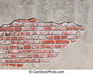 WALL - old defective bricks wound a house