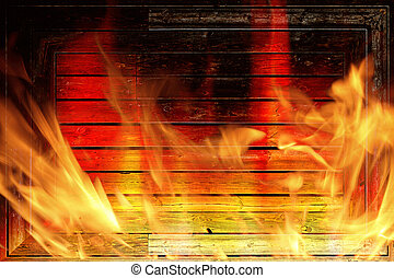 Wall on fire