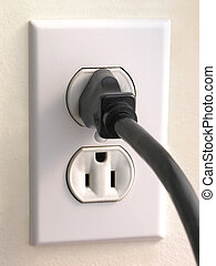 Wall Outlet - Black Plug - Wall Outlet with Black corded...