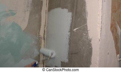 Wall paint roller paint light blue