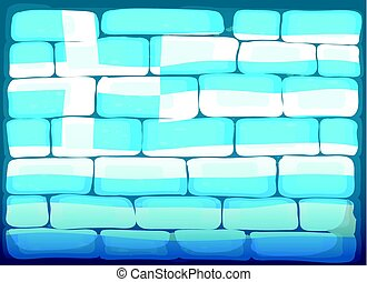 Wall painted with flag of Greece