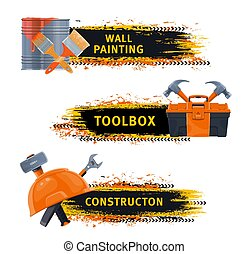 Wall painting and construction tools vector banner