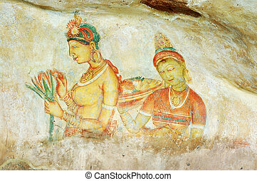Wall painting at Sigiriya rock monastery, Sri Lanka