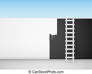 Wall painting - Painting of a black wall in white color. Eps...