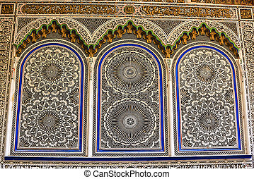Wall panels in the Fez souk - Beautiful pattern work on the...