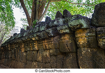 Wall Prasat Muang Singh, Kanchanaburi.