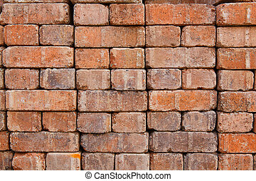 Wall red brick pavers