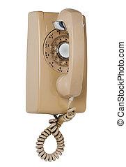 Wall rotary phone, isolated
