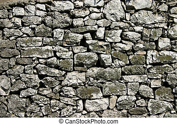 Rustic stone wall with strong gaps between stones