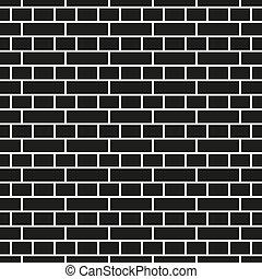 Wall seamless geometric pattern - brick texture. Black and white mosaic endless background