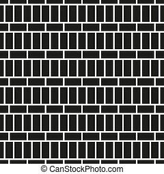 Wall seamless pattern - brick texture. Black and white mosaic endless background