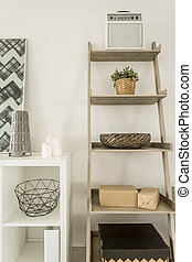 Wall shelves and cabinet