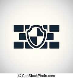 wall shield icon for web and UI on white background