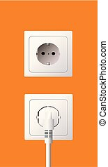 Wall socket and electric plug