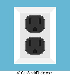 Wall socket vector icon equipment interior technology object. Electrical tool supply sign plug. Power outlet floor