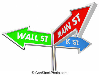 Wall St K Main Street 3 Way Signs Intersection 3d Illustration