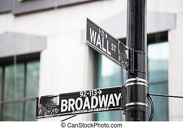 Wall street and broadway sign in New York