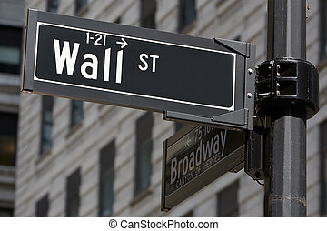 Wall Street and Broadway sign near Stock Exchange in New York