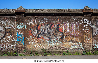 Wall, street art - View of graffiti on the brick wall