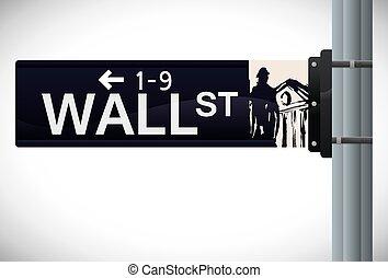 wall street, conception, vecteur, illustration.