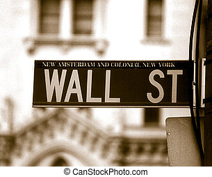 Wall Street - Duotone of wall street sign in NYC