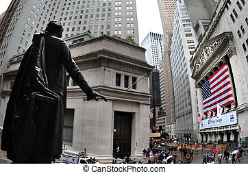 Wall Street in Manhattan New York - NYC- OCT 09: Wall street...