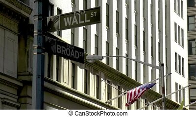 Wall Street name sign in Manhattan, New York.