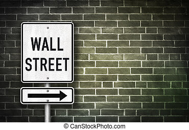 wall street, -, panneaux signalisations, illustration