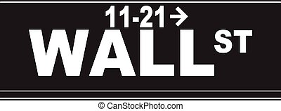A typical Wall Street, name plaque isolated on a white background