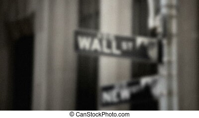 Wall Street Sign, grainy - Street sign for Wall Street...