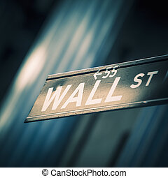 Wall street sign in New York