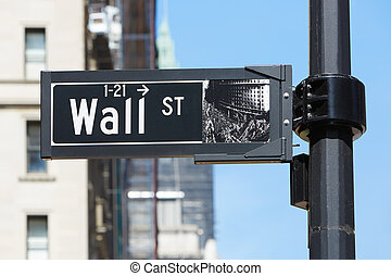 Wall Street sign near Stock Exchange, financial district in New York