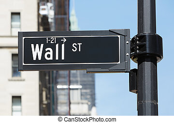 Wall Street sign near Stock Exchange in New York