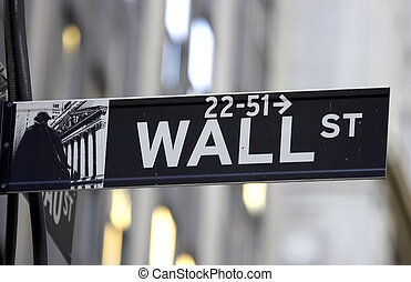 Wall street sign, the brown colour indicates the historic area, manhattan, new york city, America, usa