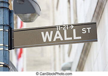 Wall Street sign with street lamp near Stock Exchange, New York