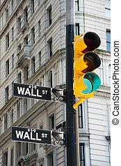 Wall Street signs and traffic lights - New York City, USA