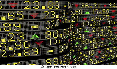 Stock market tickers sliding on circular trading boards. 4K animation for economic and business backgrounds.