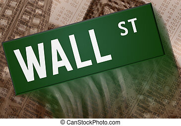 Wall Street - street sign with building and charts in the ...