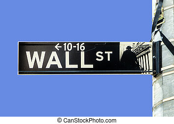 wall street, streetsign, in, new york