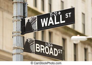 wall street, und, breite straße