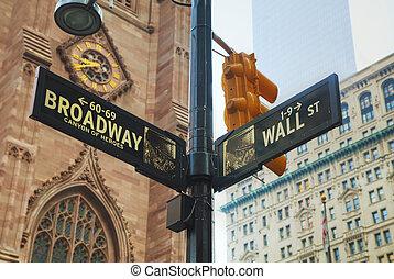wall street, und, broadway, zeichen & schilder, in, new york city