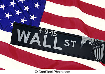 Wall Street - Wall street sign in front of the United States...