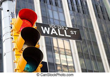 wall street zeichen, und, rotes , verkehrsampel, new york