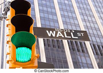 wall street zeichen, und, verkehrsampel, new york