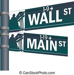 wall-streetem, hlavní potrubí ulice, vektor, průsečík