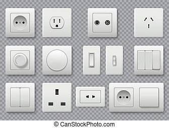 Wall switch. Power electrical socket different modern round switches vector realistic collection