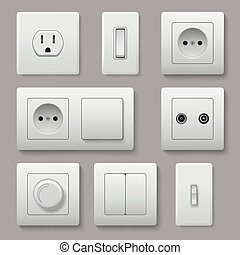 Wall switch. Power electrical socket electricity turn of and on plug vector realistic pictures