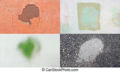 Wall texture set. Spot frame. Grunge background.