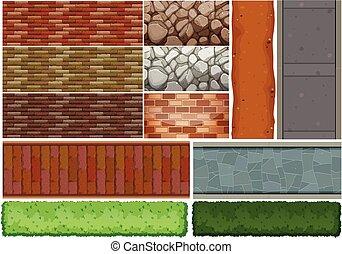 Wall tiles pattern and bush